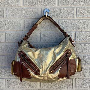 Isabella Fiore Gold Metallic Shoulder Bag